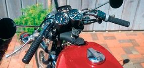 The low-set handlebars emphasized the bike's sporting nature.