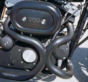 """""""Siamesed"""" exhaust headers helped extract maximum power from the 1000-cc V-twin."""