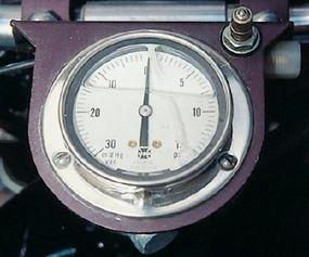 A boost gauge helped keep tabs on internal pressures.