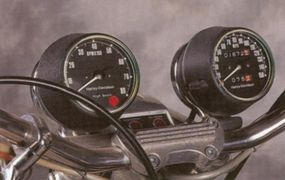 The Harley-Davidson XL-1000's speedometer and tachometer emerged from the headlamp housing.