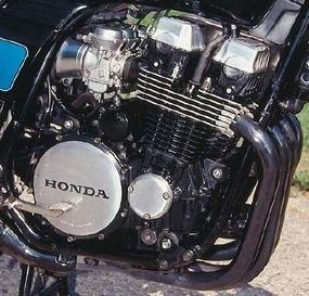 The Nighthawk's engine was enameled mostly in black and sported a four-into-one exhaust system.