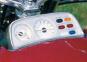 The speedometer was perched above the handlebars, while the tach, water-temperature gauge, and host of warning lights sat in a separate instrument panel.