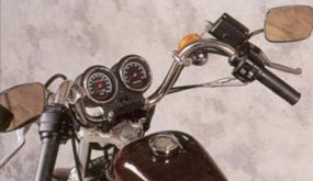 The instrument panel of the 1986 Harley-Davidson XLH 1100 was mounted to the handlebars.