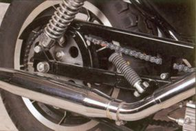 Low-mounted exhaust pipes ran beneath the rear suspension on the Harley-Davidson XLH 1100.