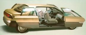 Image Gallery: Concept Cars All four doors of the 1988 Renault Megane concept car slid apart to reveal a no-pillar entryway. See more concept car pictures.