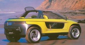 A movable back windshield offered rear-seat riders in the 1989 Pontiac Stinger concept car the absolute minimum of protection.