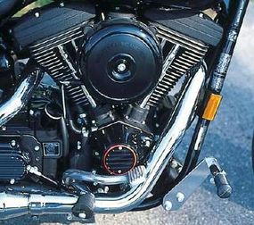 The Evo V-twin was also bathed in black, which, along with subtle orange accents, reflected the overall theme.