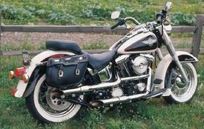 """Unlike other Harley-Davidson """"factory customs,"""" the FLSTN had modern mechanicals like belt drive, disc brakes, hydraulic forks, and Harley's softail frame."""