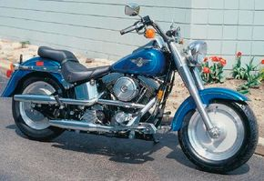 After 1990, Fat Boys were available in a variety of colors, including two-tones. See more motorcycle pictures.
