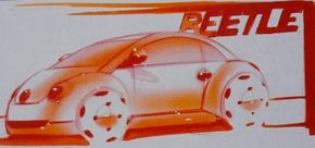 Initial concept sketches for what would become the 1998 Volkswagen New Beetle originated in the Volkswagen California design studio.