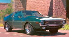 The Tally-Ho Green 1973 AMX is powered by the 360 V-8 driving through a four-speed.