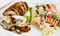 If you don't want to stuff the chicken, skip that step and crumble the goat cheese over the chicken and pasta. Same delicious flavors, but with a bit less work.