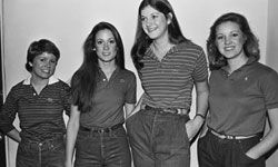 """Four UCLA students model the latest in college """"preppy"""" fashion in this 1980 photo."""