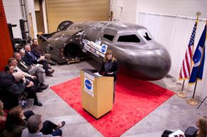 It must have been kind of hard for those folks to pay attention to NASA Deputy Administrator Lori Garver on Feb. 5, 2011, what with the Dream Chaser looming in the background.