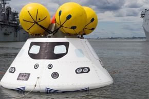 Orion undergoes recovery testing in August 2013. Lockheed Martin is the prime contractor for Orion.