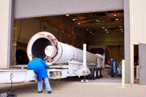 That's one of Orbital Sciences' rockets, the Taurus XL, getting prepped before carrying NASA's Glory satellite into low-Earth orbit.