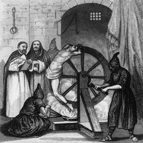 Amazingly, the horrific torture depicted here did not stop the monks pictured from waiting for the martyr's confession with quill in hand.