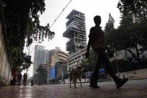 The $1 billion home of Mukesh Ambani towers over Mumbai and is filled with balconies and indoor gardens.