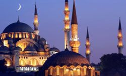 A view of the Süleymanive mosque at dusk.