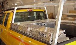 Pickup trucks often have aluminum toolboxes such as these mounted in the truck bed.