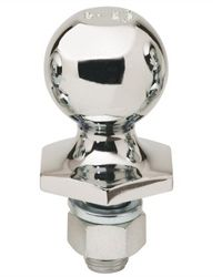 That shiny, stainless steel object that resembles a doorknob is a hitch ball.