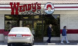 Wendy's patrons leave a San Jose area location on May 13, 2005. After the finger incident, the restaurant chain began giving away free Frosties to offset bad press.