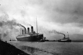 The Titanic leaves Belfast to start her trials, pulled by tugs -- shortly before her disastrous maiden voyage of April 1912.
