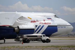 Fill 'er up please! About 70,000 gallons (265,000 liters) of fuel for that Antonov AN-124-100 cargo plane should do the trick.