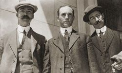 A portrait of three of the surviving crewmen from the Titanic, in 1912