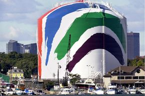 A liquefied natural gas storage tank is shown in Boston, Mass., on Oct. 8, 2001.