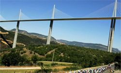 Stage 18 of the 92nd Tour de France heads under the Millau Viaduct, the world's tallest vehicular bridge.