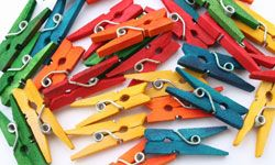 """Multicolored clothespins clipped to your guests will remind them to avoid """"the B-word."""""""