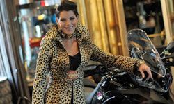 Actress Lesli Kay combines biker chic with animal prowess.