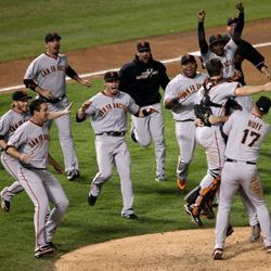 What curse? Members of the San Francisco Giants celebrate their 2010 World Series win.