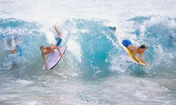 Crowded surf can lead to dangerous collisions, so be careful out there.
