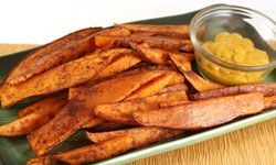 Baked sweet potato fries compliment any barbecue dish.