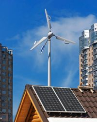 Residential wind turbines and solar panels are two features that will make your home more green.