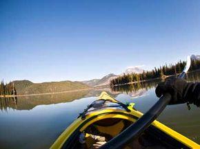 Kayaking on a lake in Bend