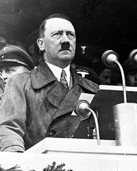 Adolf Hitler, one of history's biggest liars, takes the podium. See more pictures of military leaders.