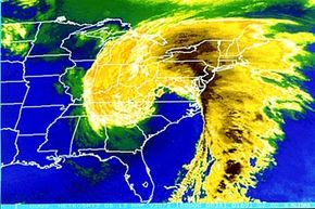 """Satellite map of Eastern United States during 1993's """"Storm of the Century."""""""