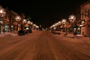 Snowy street in southern Ontario, Canada.