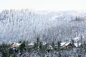 Snow-covered mountain homes.