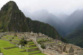 Machu Picchu shrouded in a cloud.