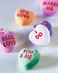 Candy hearts make sweet Bingo pieces.