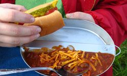 Hot dogs and beans both cook easily when you're camping.