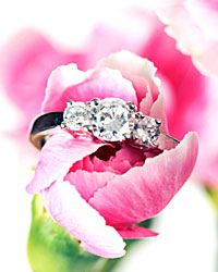 A three-stone ring sweetly symbolizes your past, present and future.