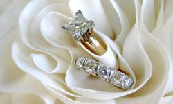 The delicate square shape of a princess cut diamond is exquisite on dainty fingers.