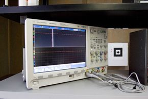 """The """"Prototype This!"""" team's oscilloscope isn't currently in use, but if it was, you'd be able to see a wave fluctuating across its screen."""