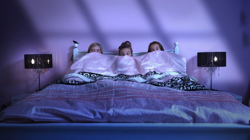 Girls scared in bed