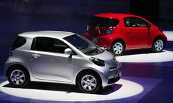 Toyota Motor Corporation's compact car 'iQ' is on display during an event at Makuhari Messe on Oct. 15, 2008 in Chiba, Japan.
